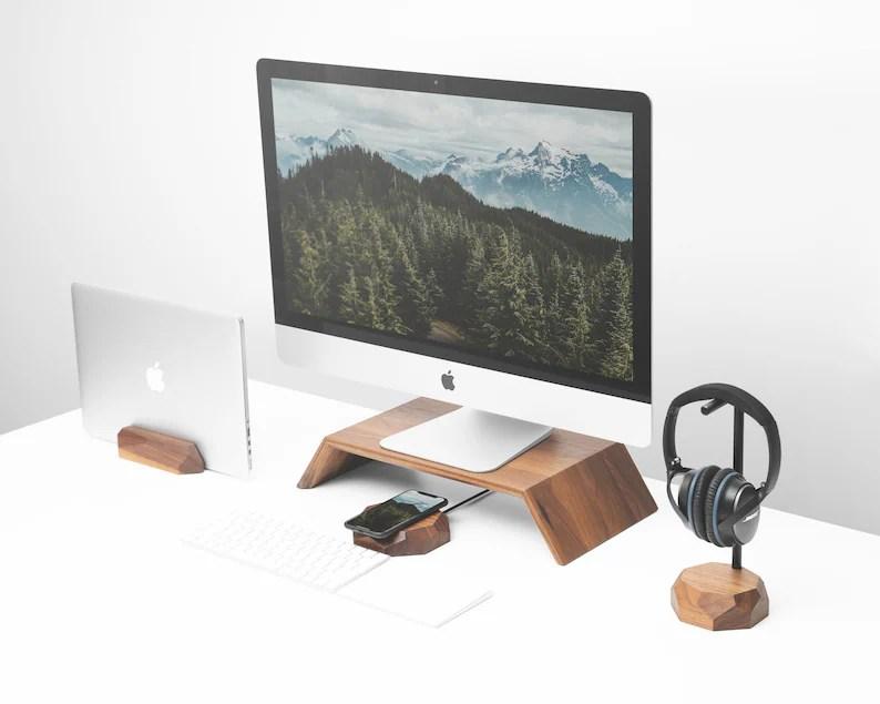 Walnut Home Office Desk Accessory Set