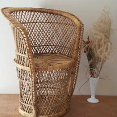 Childs Rattan Chair Barcelona Cognac Wicker Etsy Peacock Child Size Plant Stand Bohemian Decor 22 Height Southwestern Desert Style