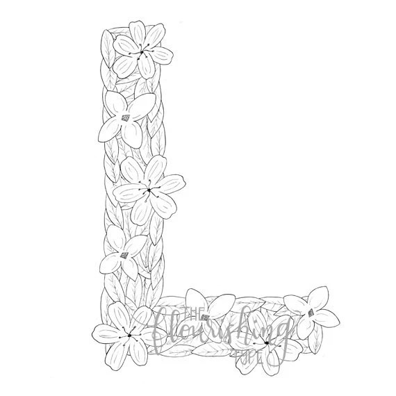 Printable Colouring Page Letter L Floral Inspired Lily
