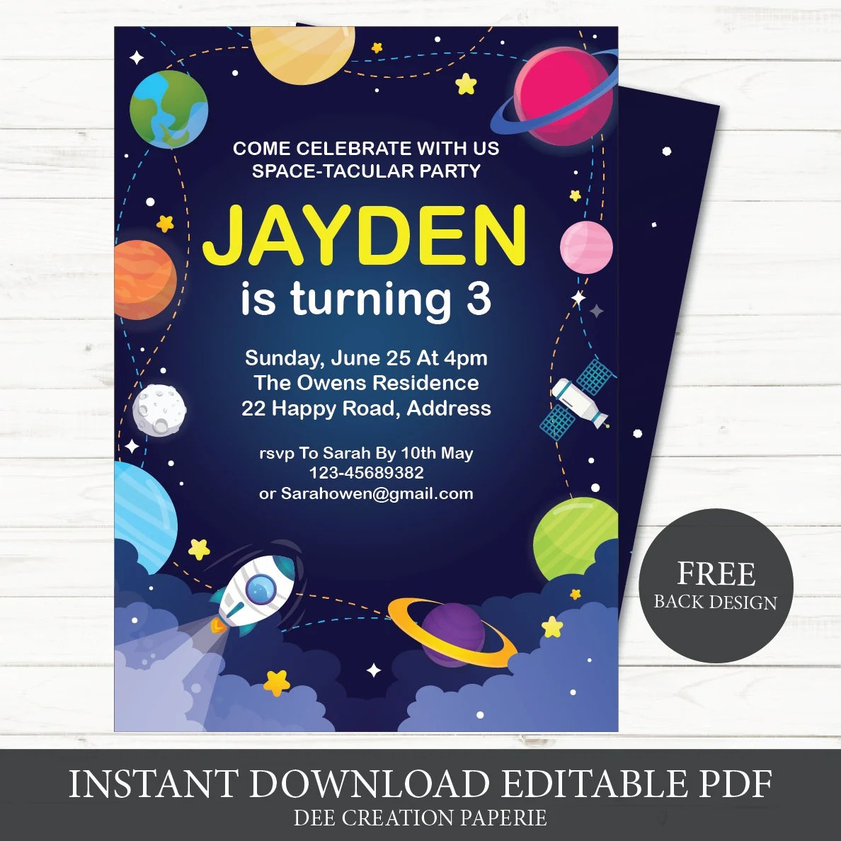 outer space kids birthday invitations solar system kids birthday space birthday invitation planet birthday rocket ship instant download