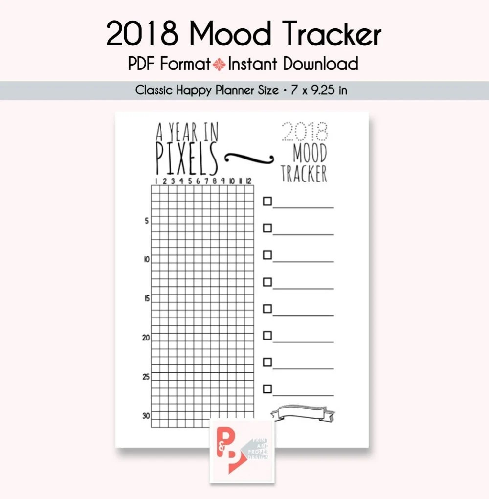 MOOD TRACKER Happy Planner Printable Insert Create 365