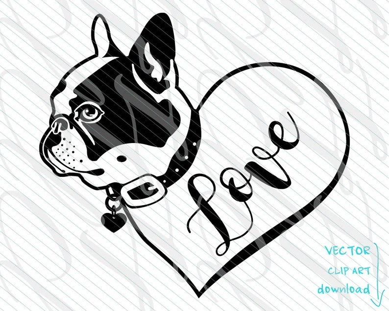 Download Frenchie Dog SVG Ink Heart Love Tattoo Vector Art File ...
