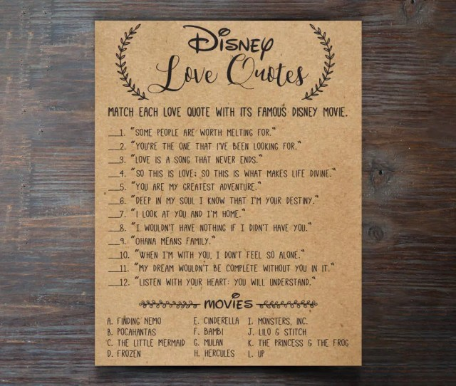 Disney Love Quotes Bridal Shower Games Disney Bridal Shower Games Wedding Shower Games Bachelorette Party Night Rustic Download