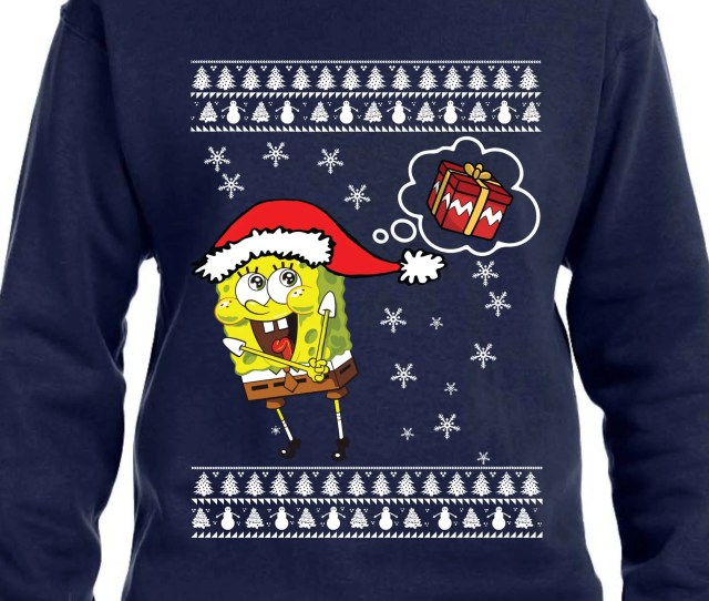 Sponge Bob Square Pants Ugly Christmas Sweater Th