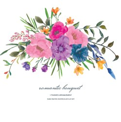 Romantic Bouquet Pastel Roses Watercolor Flower Clipart One Etsy