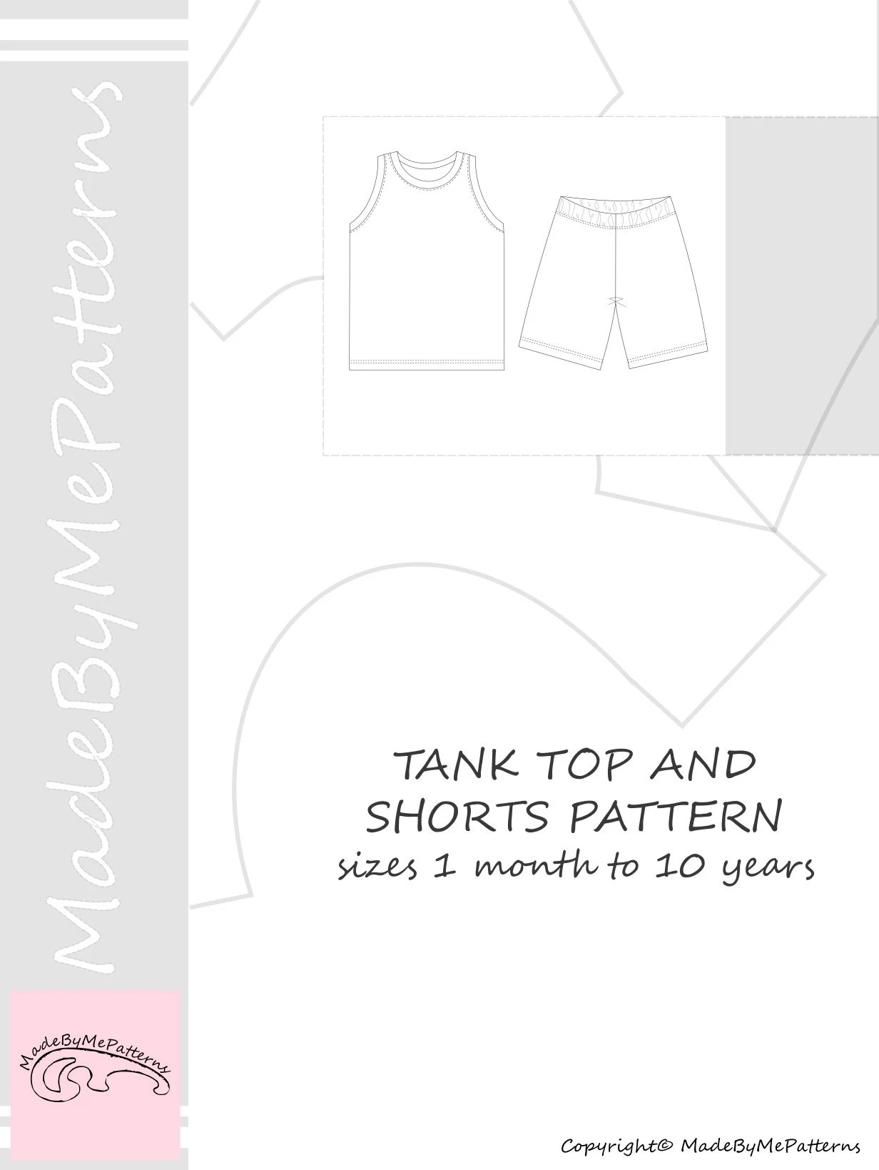 hight resolution of tank top and shorts pdf sewing pattern sewing patterns from 1 month to 10 years instant download sewing pattern