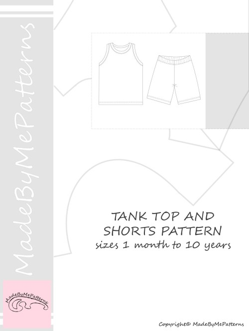 small resolution of tank top and shorts pdf sewing pattern sewing patterns from 1 month to 10 years instant download sewing pattern