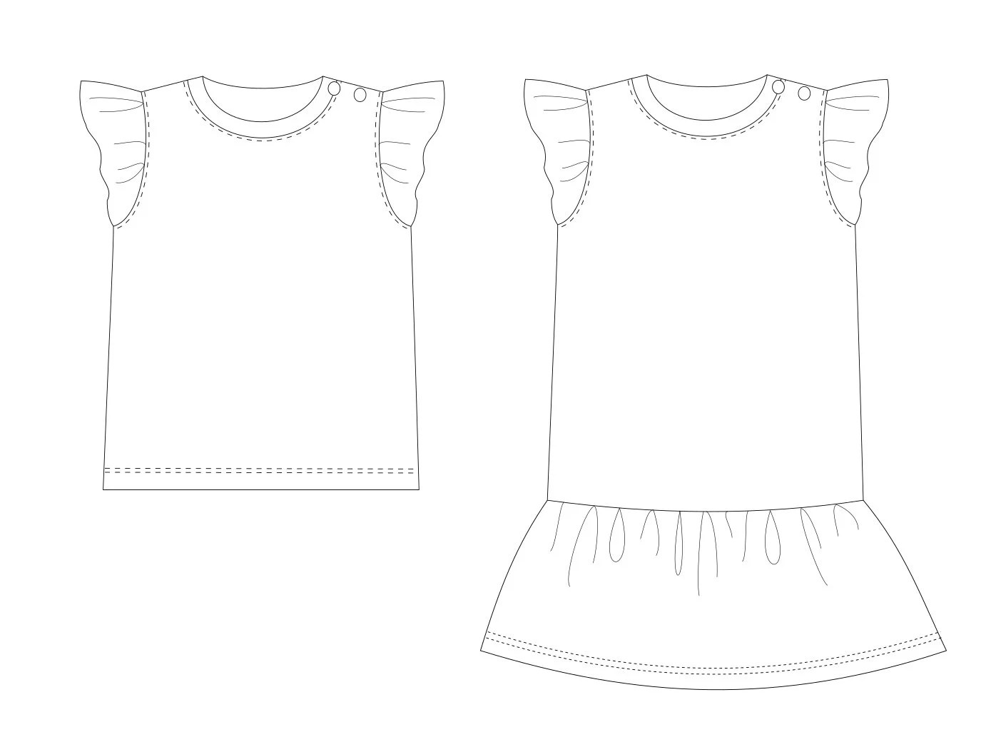 Baby top pattern pdf, baby dress pattern, girls sewing