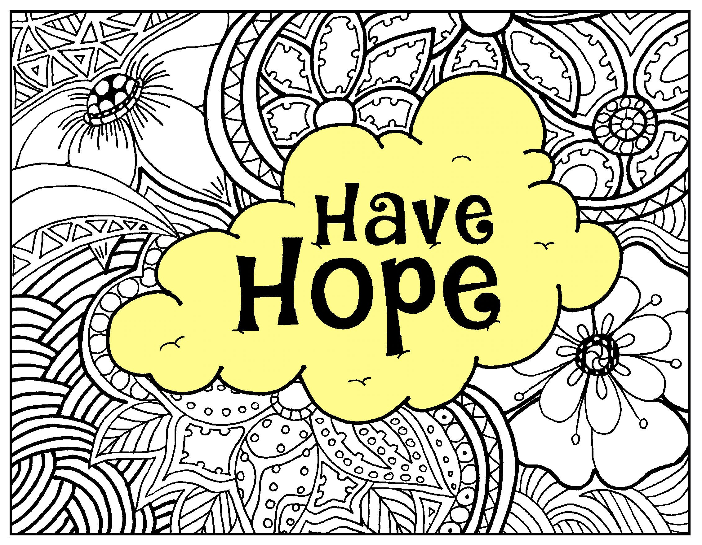 Have Hope Adult Coloring Page From Our Affirmations