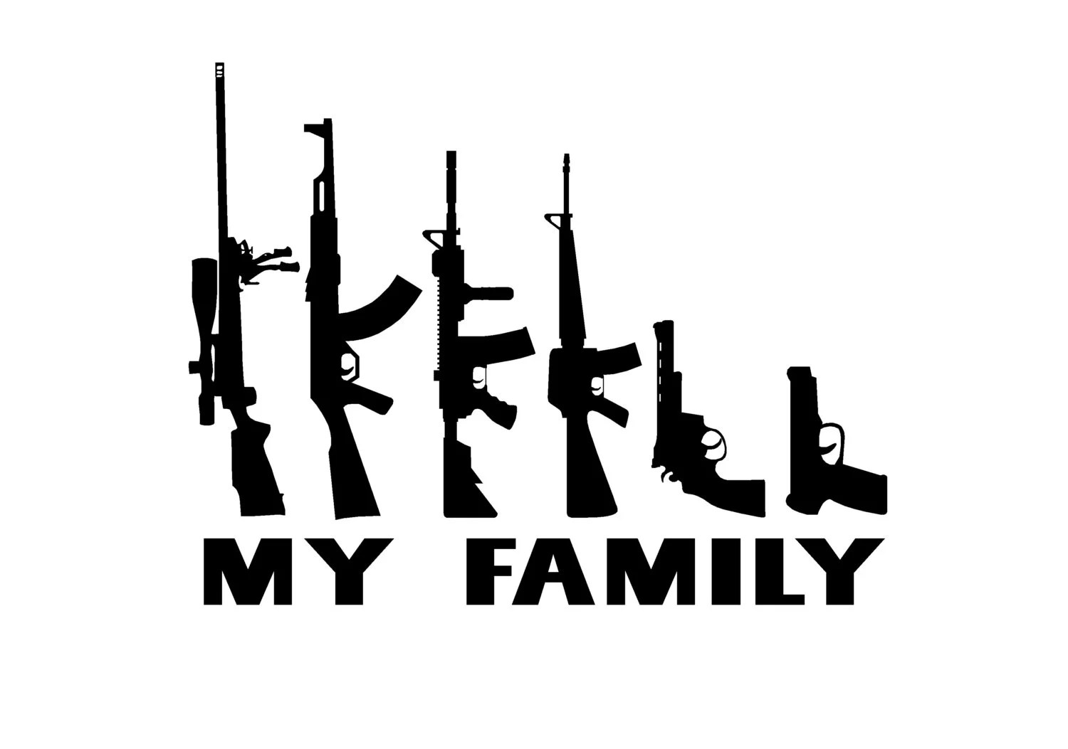 My Family Gun Stick Figure Family Decal 4 9