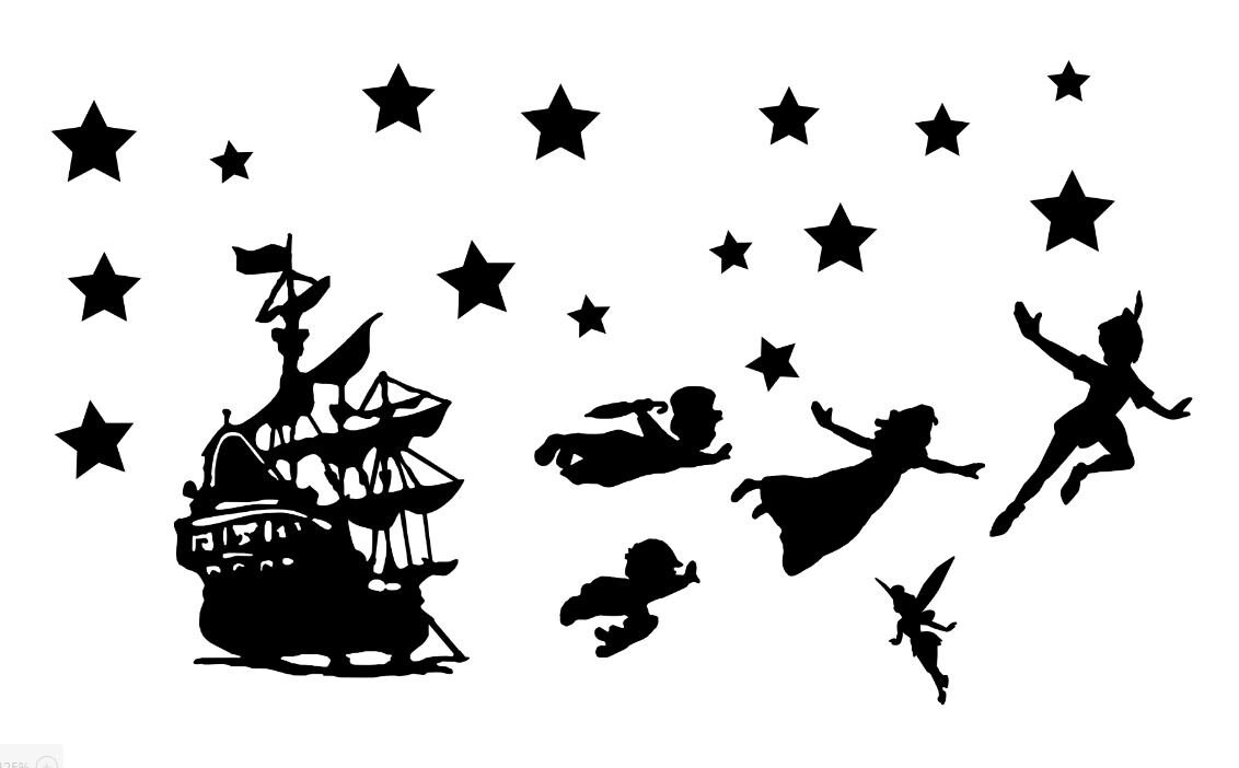 Peter Pan & Tinkerbell Die Cut Out Silhouettes Pirate ship