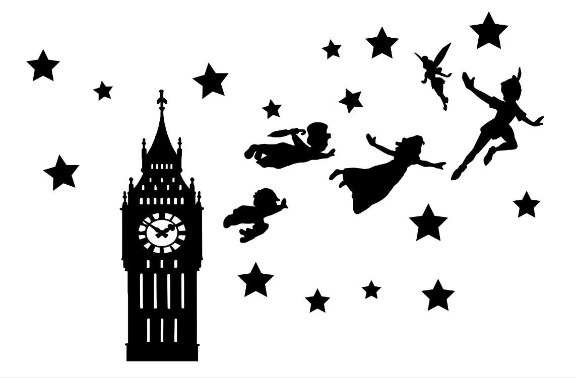 Peter Pan & Tinkerbell Die Cut Out Silhouettes Big ben