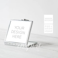 Silver Square Compact Makeup Mirror Mockup For Sublimation Etsy
