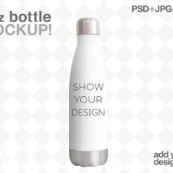 17oz Stainless Steel Water Bottle Mockup Add Your Own Etsy
