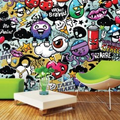 Funky Living Room Wallpaper Interior Design Ideas For Rooms In Mumbai Graffiti Doodle Monsters Photo Wall Mural Etsy Image 0