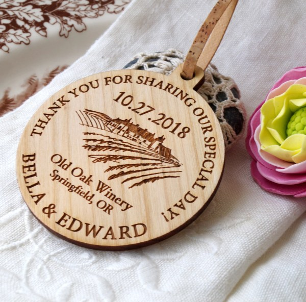 Wedding Favors Personalized Ornaments Vineyard