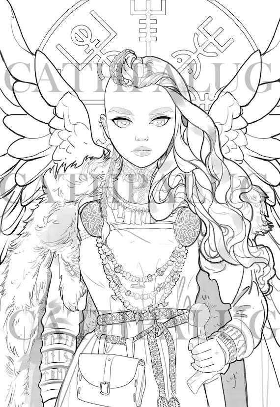 Digital Stamp Frigg / Freya Goddess Norse mythology Queen