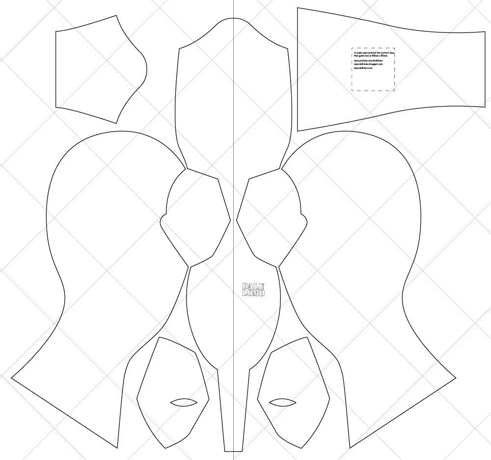 Dead pool Movie Fabric Mask A4 & Letter Size PDF Template