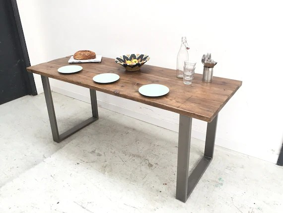 Industrial Box Frame Leg Reclaimed Wood Kitchen Dining Table Etsy