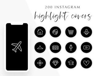 200 Instagram story highlight icons Black and White Instagram Etsy