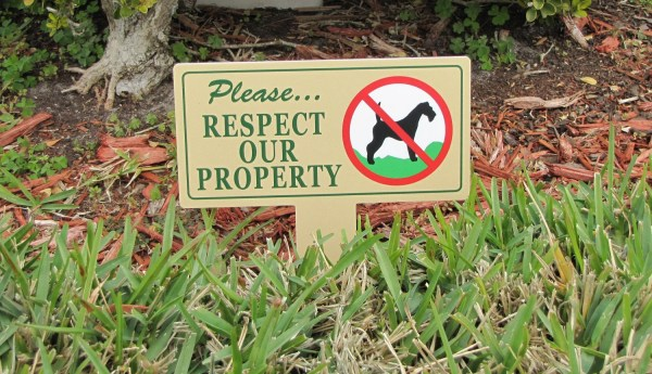 Respect Property Signs Dog Poop Stake Pee