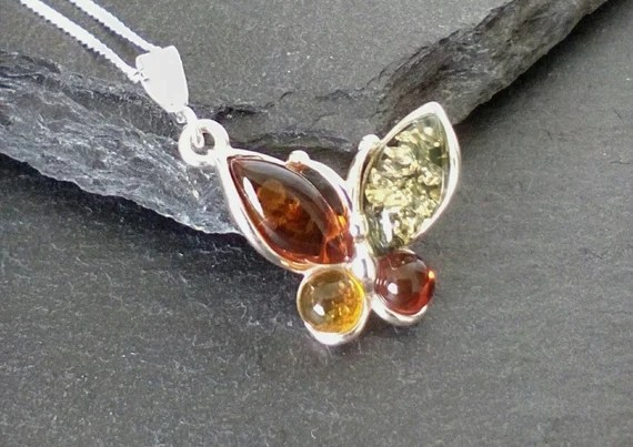 Silver Amber Butterfly Necklace