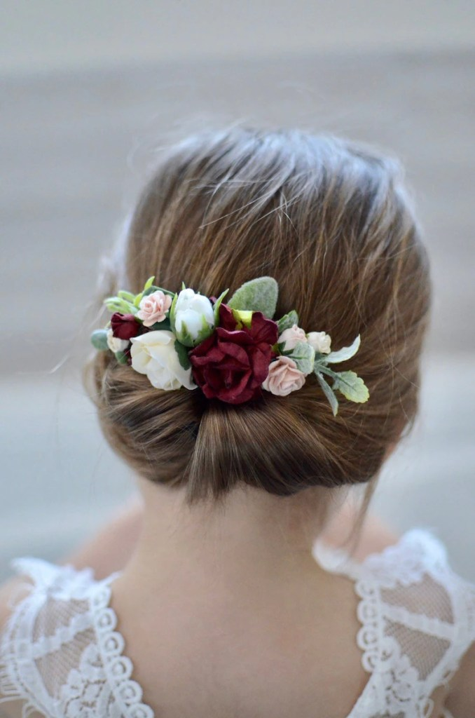 bridal hair comb, flower girl hair accessories, bridesmaid girl hair clip, wedding hair comb, burgundy wine headpiece , wedding floral headp