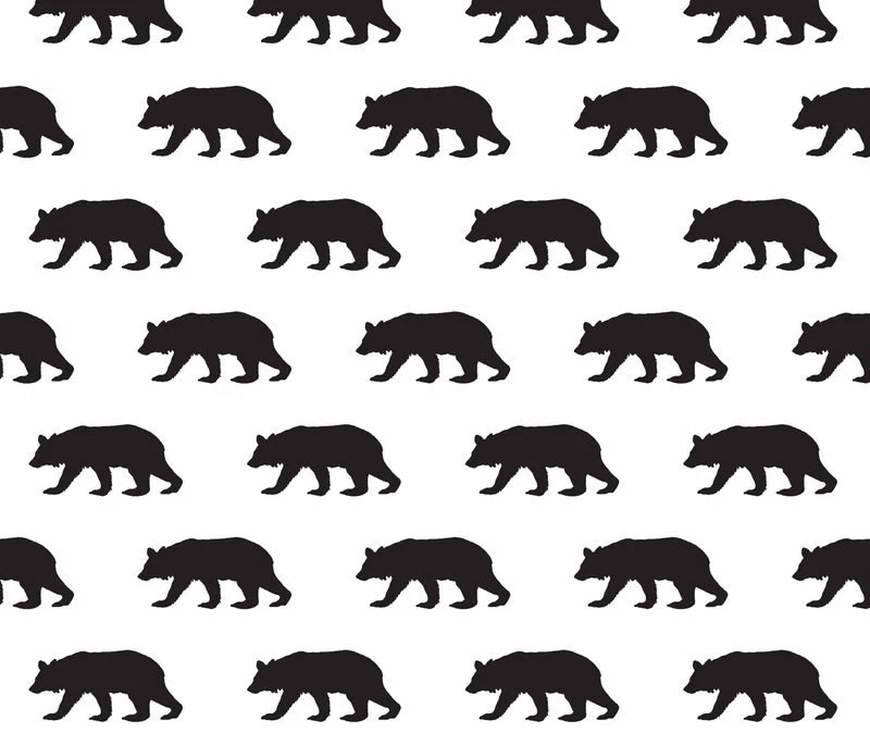 Woodland Bear in Black and White Fabric by the Yard