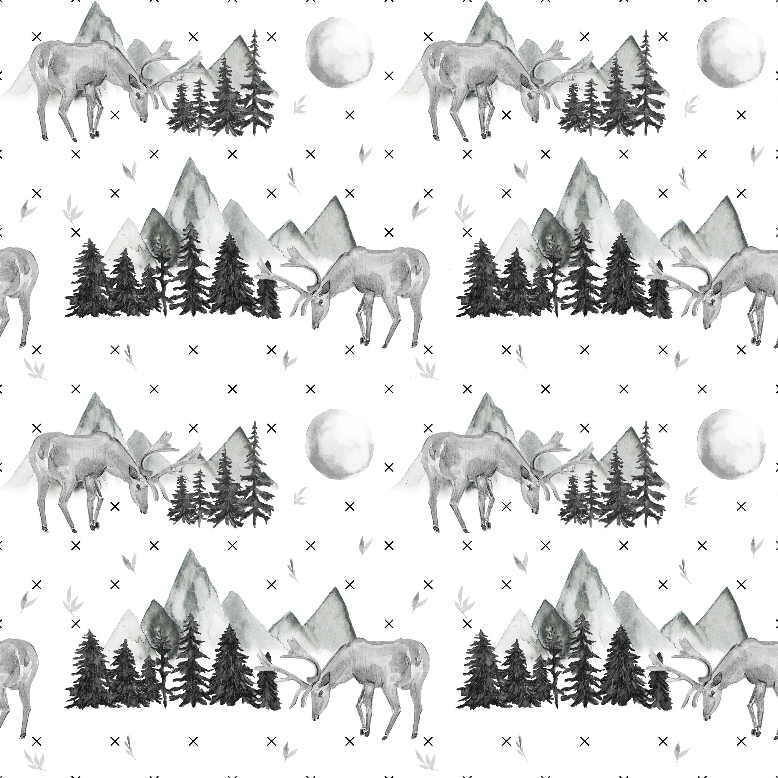 Woodland Forest Fabric by the Yard. Quilting Cotton Knit