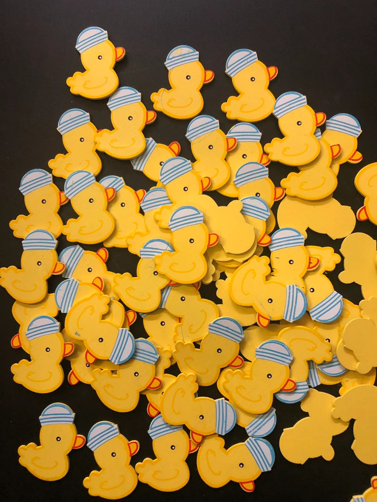 Wooden Duck Blue Hat 1 5 Inch Rubber Duck Party Duck Baby Shower Boy Baby Shower Duck Party Favor Zoo Forest Jungle Safari Theme