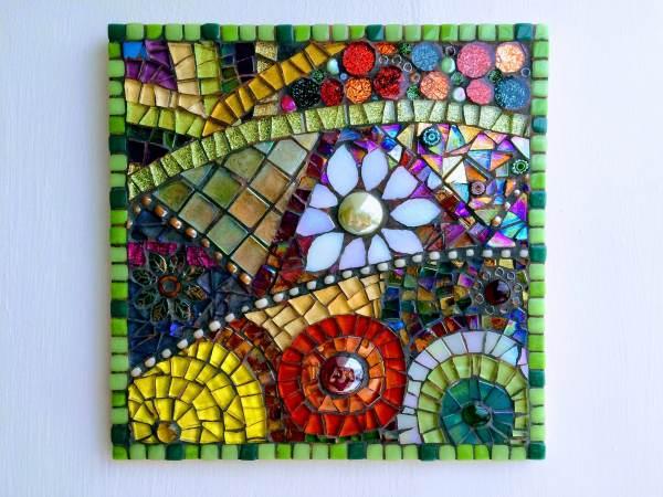 Handmade Glass Abstract Flower Mosaic Wall Art