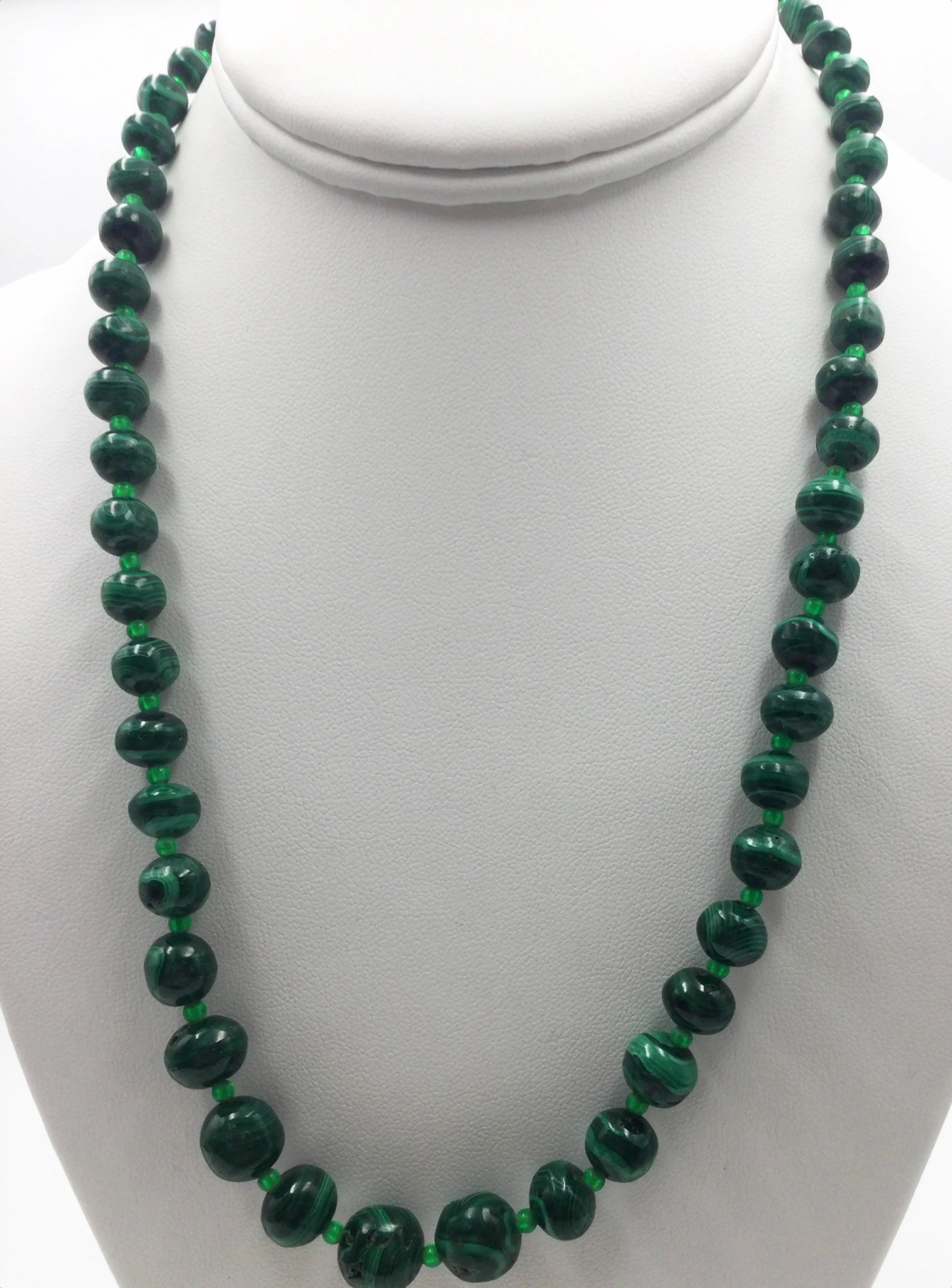 Real Malachite Necklace : malachite, necklace, Genuine, Malachite, Knotted, Necklace, Vintage