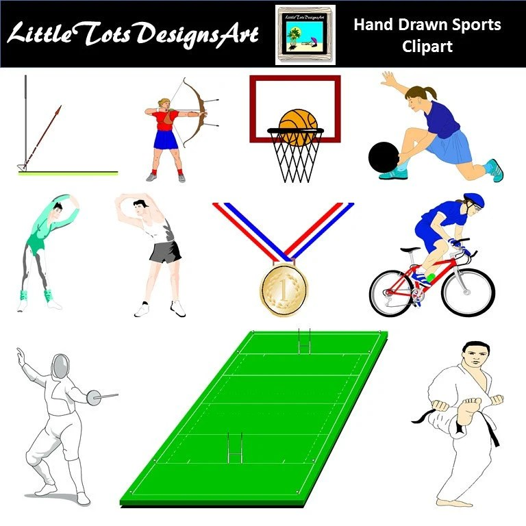 Download free sports clipart and use any clip art,coloring,png graphics in your. Sport Clip Art Clipart Playing Sports Sports Equipment | Etsy