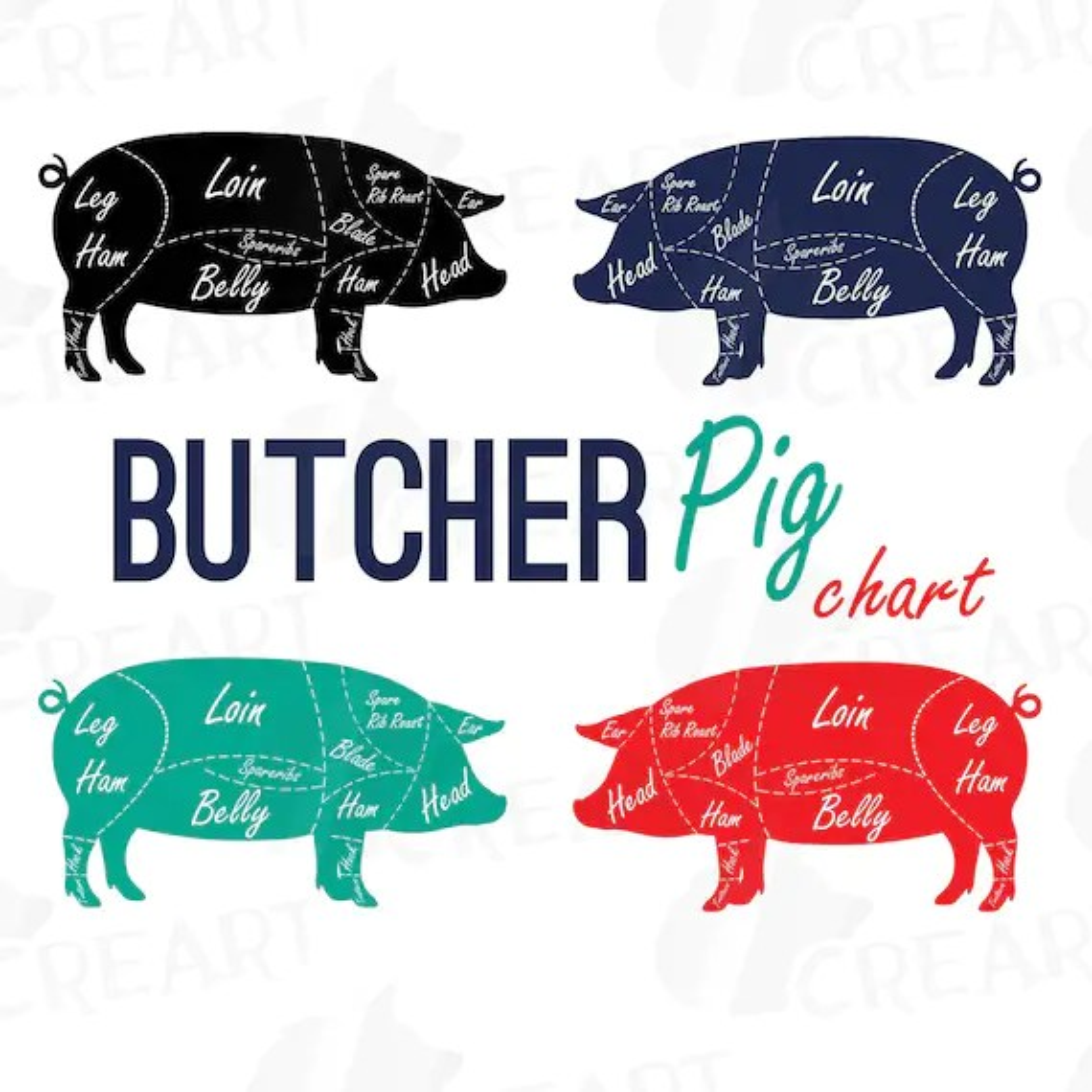 pork butcher cuts diagram ricon lift wiring svg great installation of clip art digital pig chart etsy rh com print