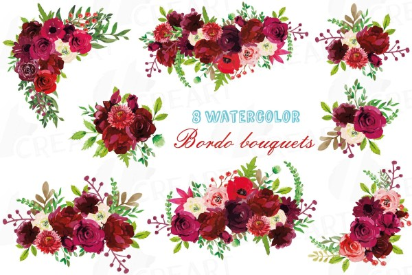 boho burgundy red watercolor clip