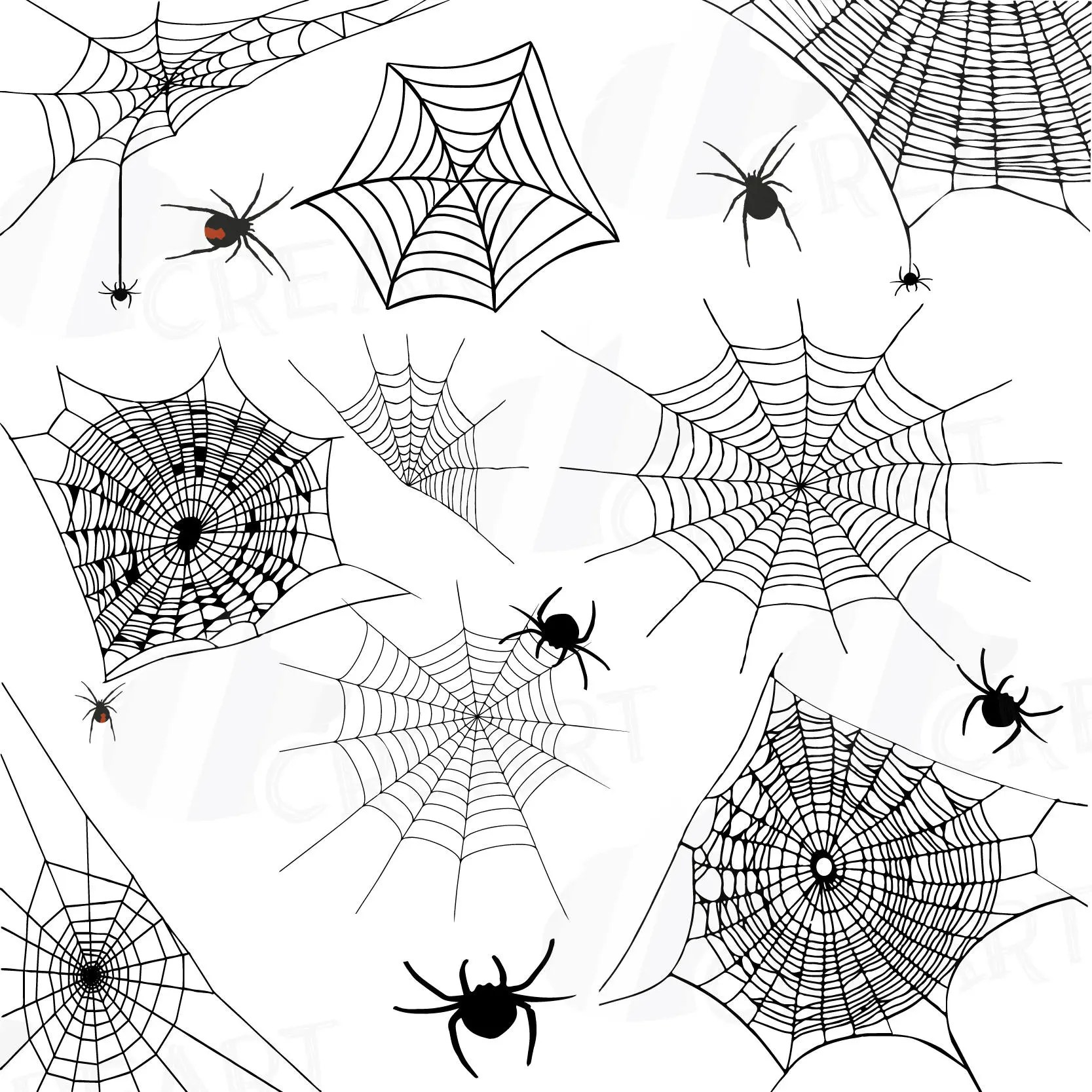 Spiders and Spider webs silhouettes clip art pack