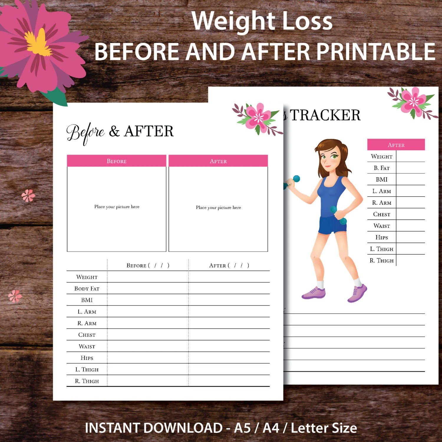 Weight Loss Tracker Printable Weight Loss Tracker Planner