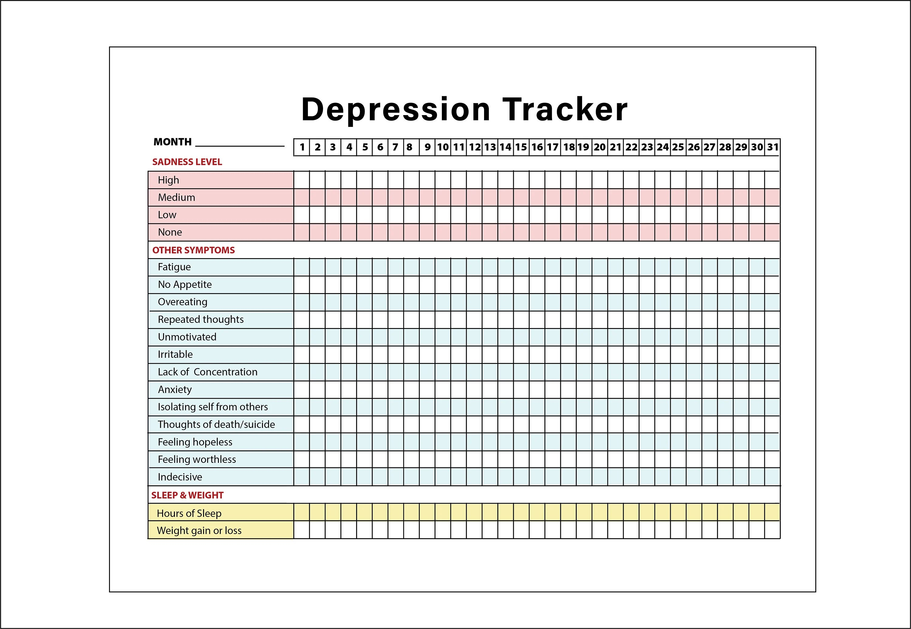 Printable Depression Symptoms Sleep Weight Tracker Diary