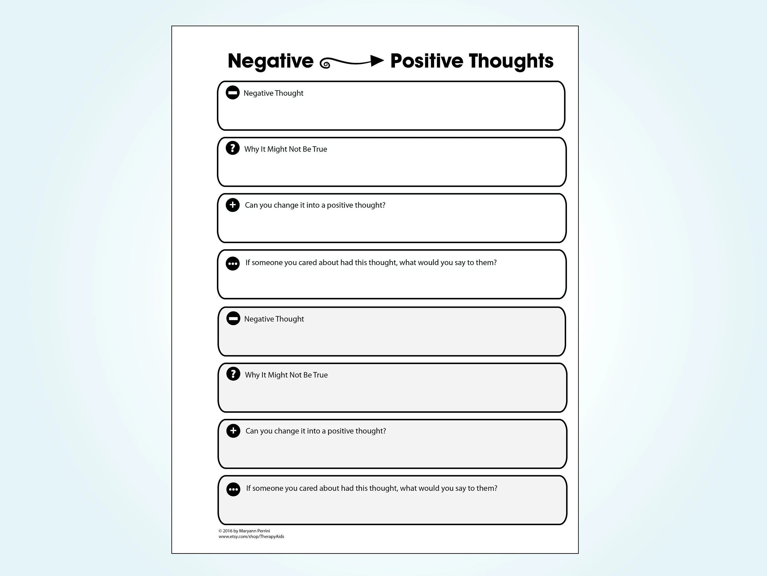 Printable Negative To Positive Thinking