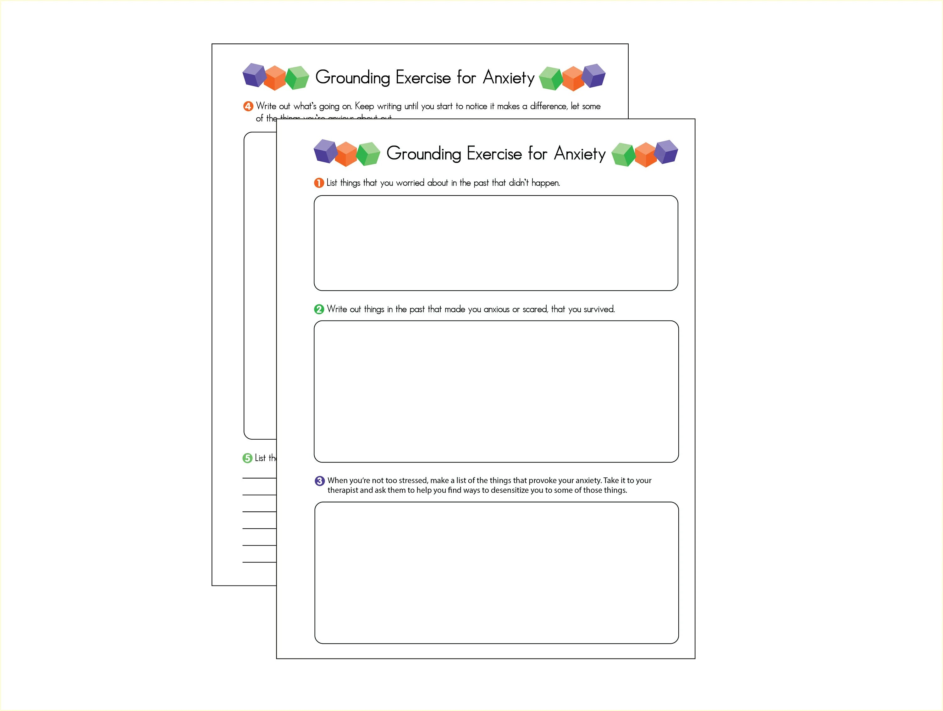 Anxiety Grounding Exercises 2 Page Worksheet Journal Mental
