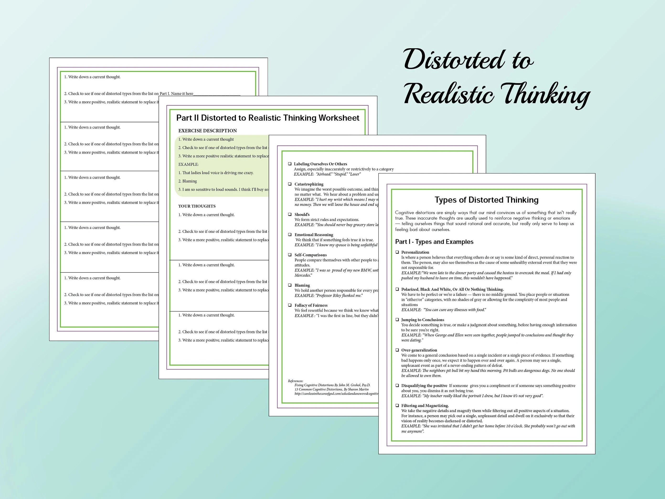 Distorted To Realistic Thinking Printable 4 Page Worksheet