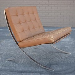 Barcelona Chair Used Rocking Cushion Pattern Authentic Knoll In Brown Leather By Ludwig Etsy Image 0