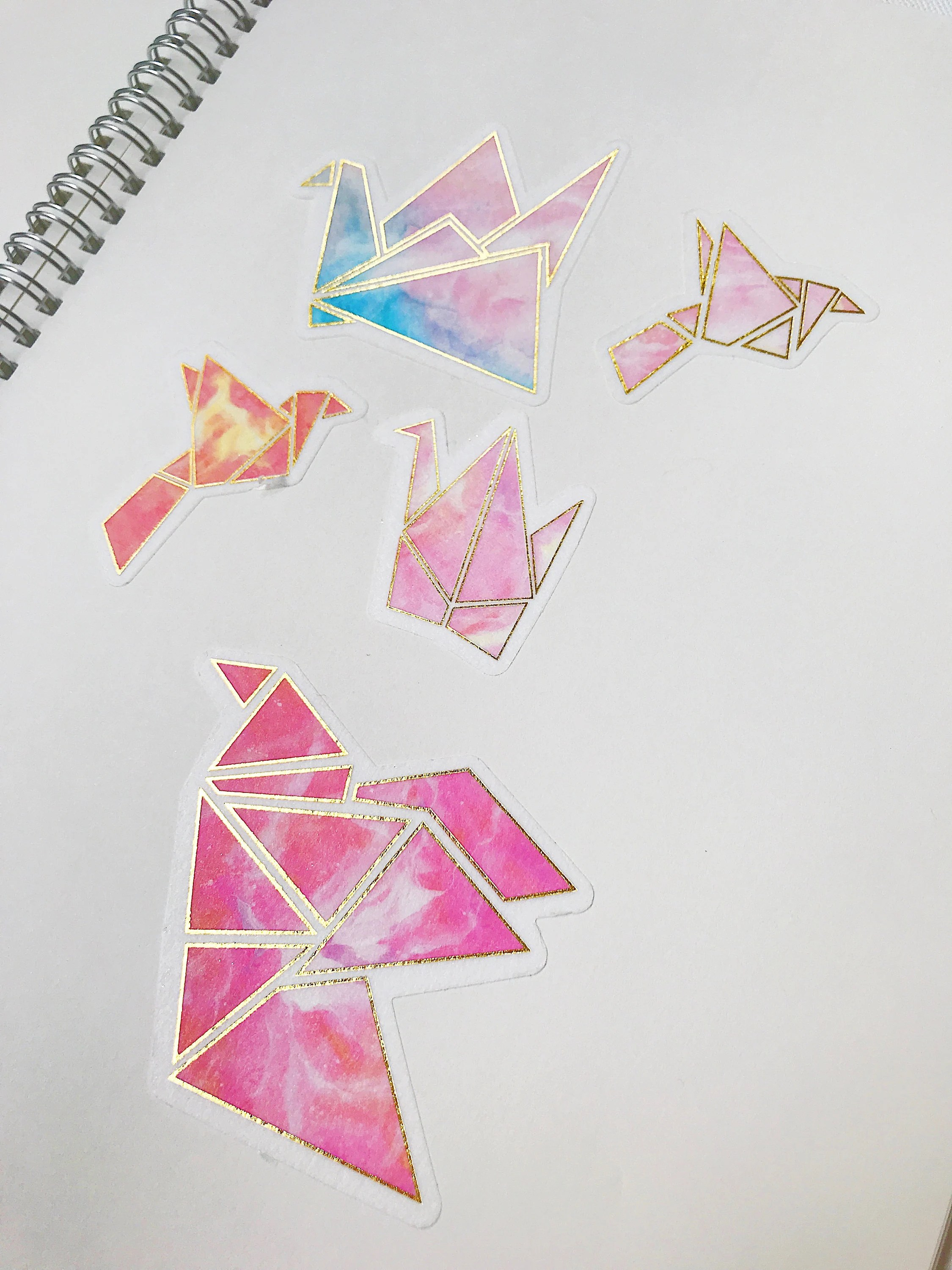 Aesthetic Pink Watercolor Origami Cranes And Birds With Gold Etsy