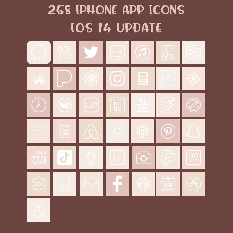 Say you decide to go for a neutral home screen. 258 iOS 14 App Icons Pack Aesthetic Neutral Colors   Etsy