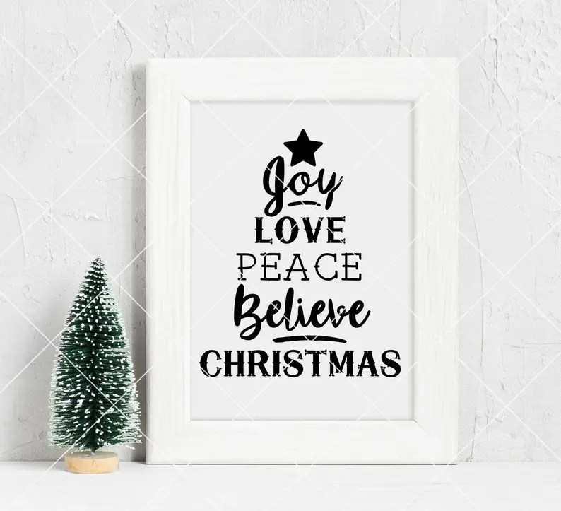 Download Instant SVG/DXF/PNG Joy Love Peace Believe Christmas tree ...