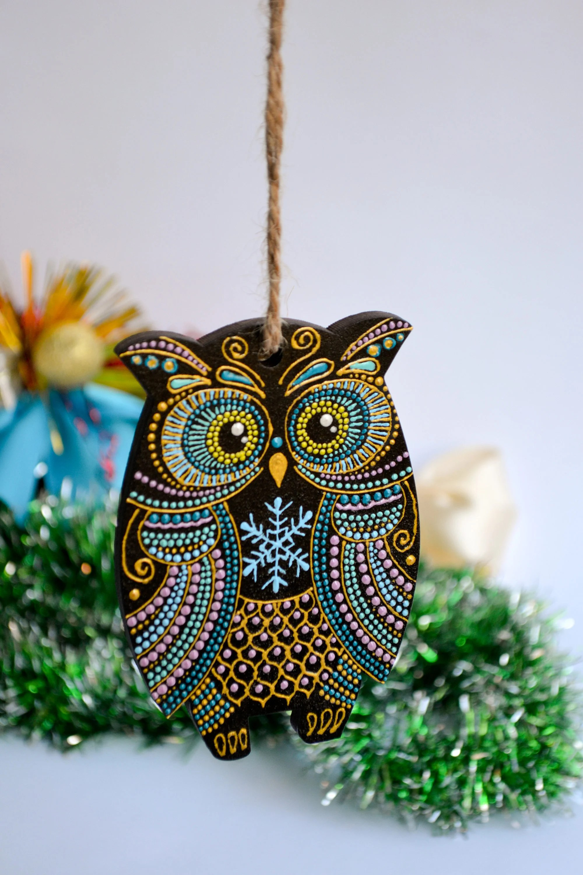 Cute Owl Decor Christmas Owl Ornament Personalized Wooden Owl Cute Owl Decor Christmas Birds Painted Wood Owl Xmas Owl Decoration Cute Tree Ornament