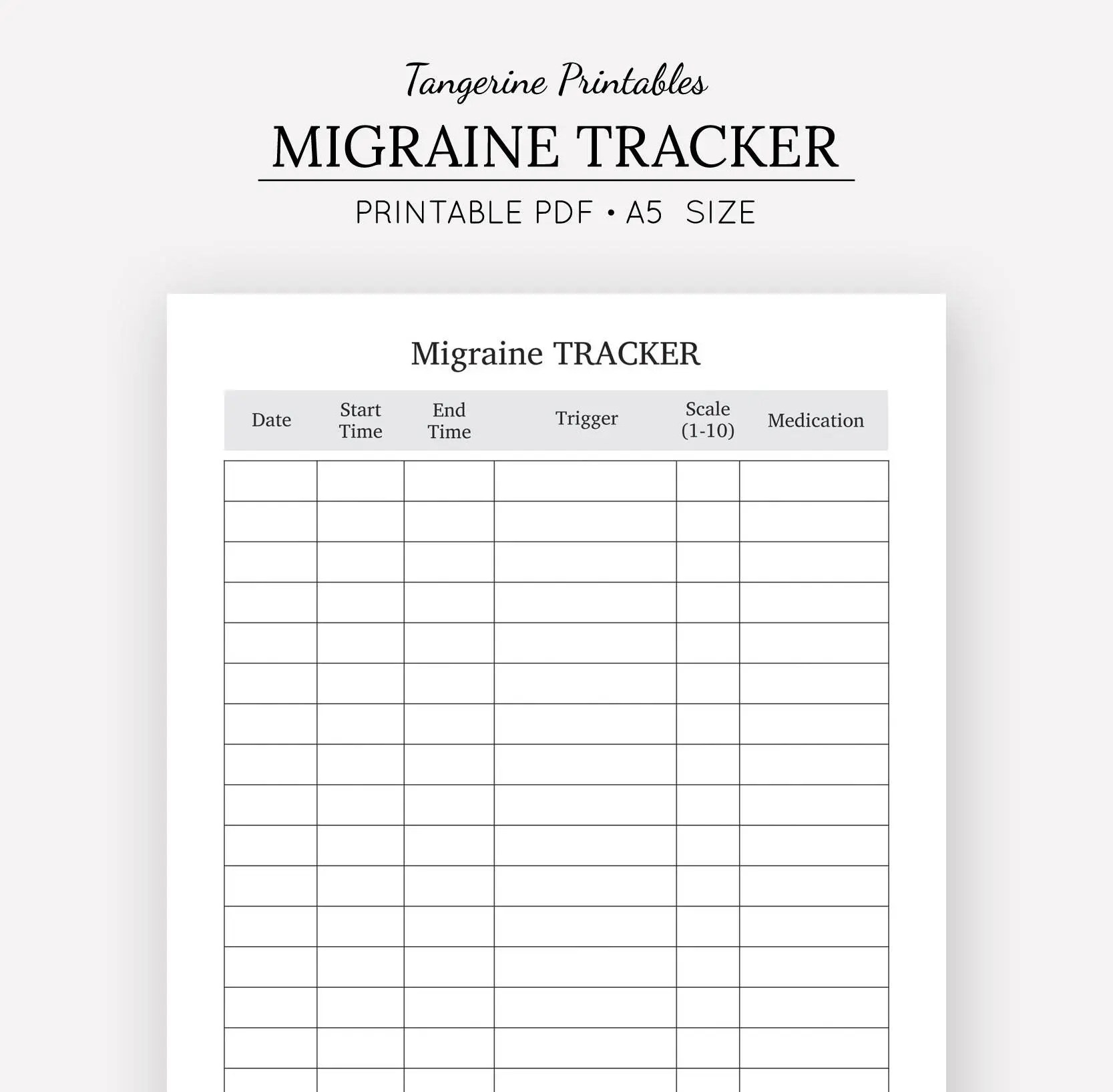 Migraine Tracker Pain Tracker A5 Planner Insert A5