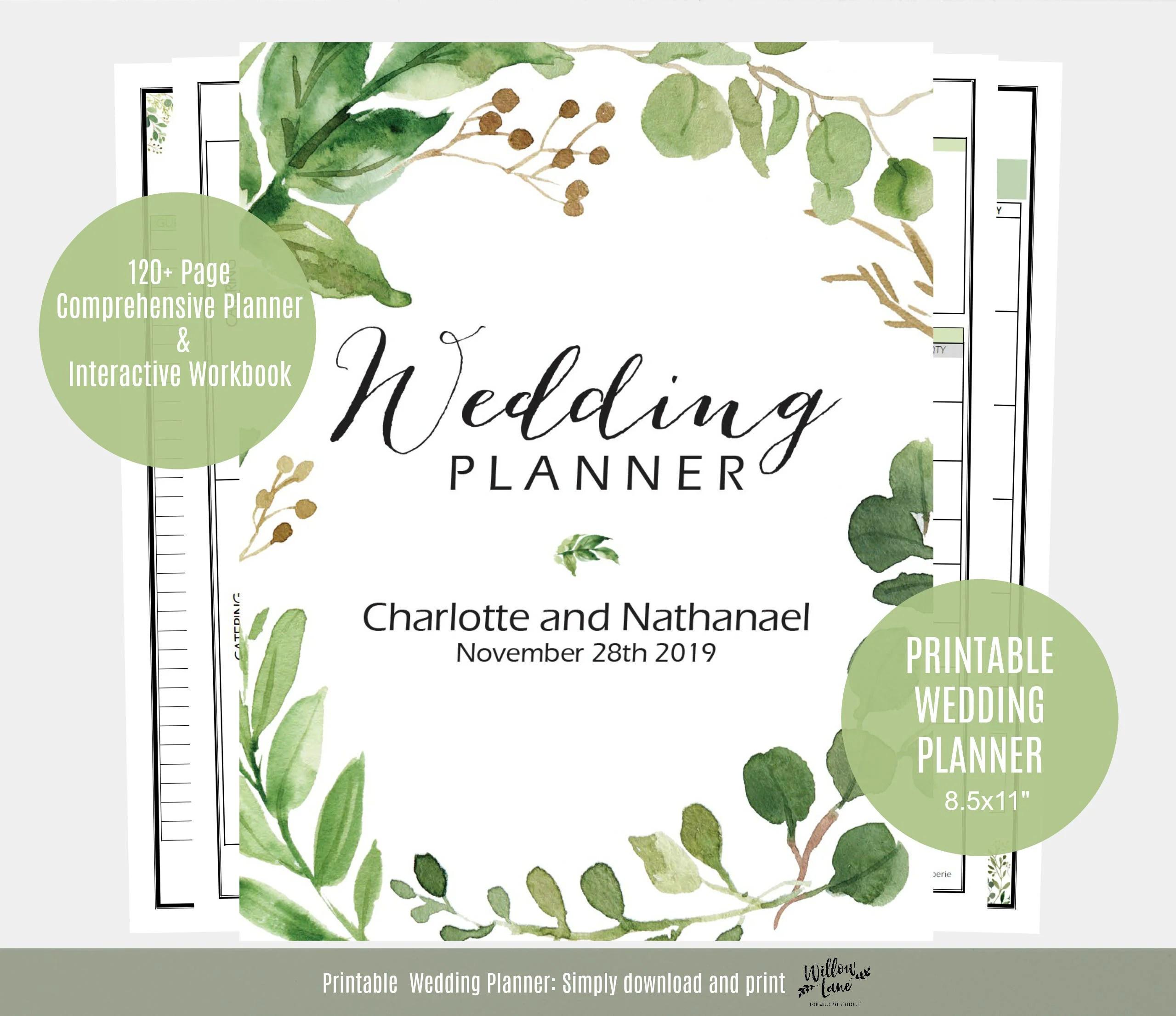 Wedding Planner Greenery Wedding Planner Printable Instant
