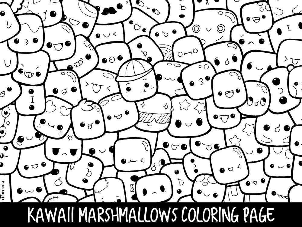 Marshmallows Doodle Coloring Page Printable Cute/Kawaii