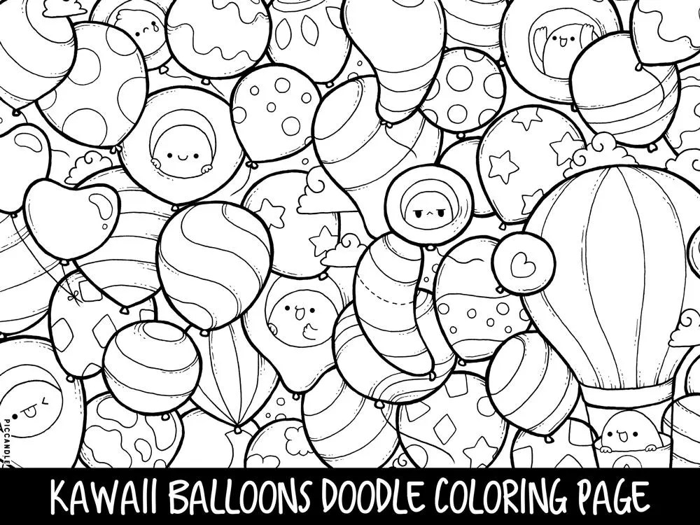 Balloons Doodle Coloring Page Printable Cute/Kawaii